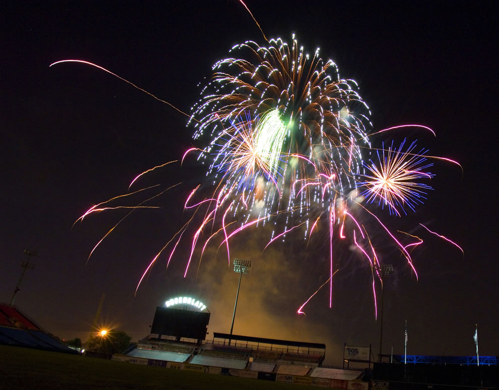 Fireworks light up Rosenblatt Stadium in the Heartland to broaden awareness of the USAF&#039;s role in the war on terrorism and strengthen support for Airmen serving worldwide in defense of freedom