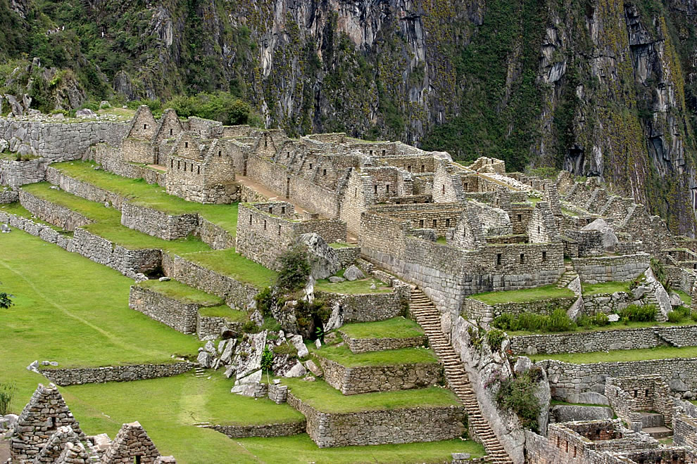 Incan ruins of residential sector of Machu Picchu