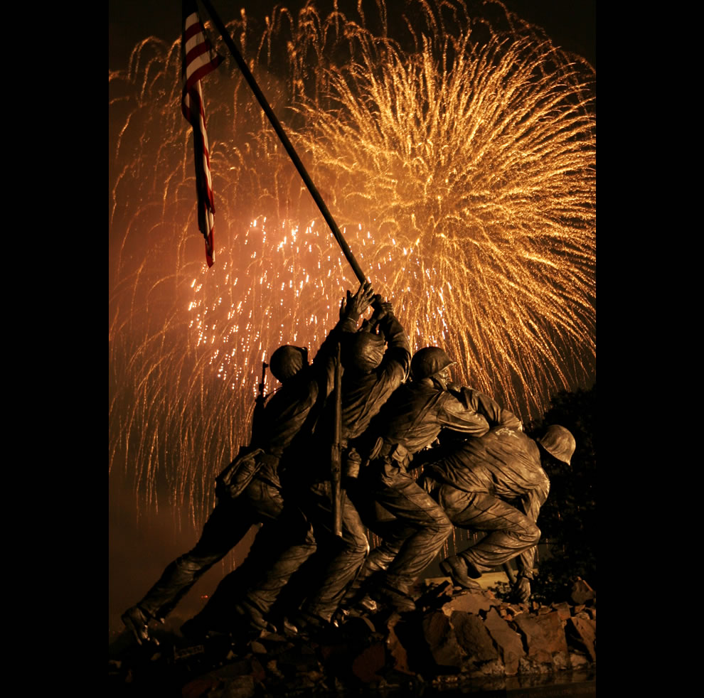 grand finale of Washington's Independence Day fireworks display goes out with a bang over the Marine Corps War Memorial July 4