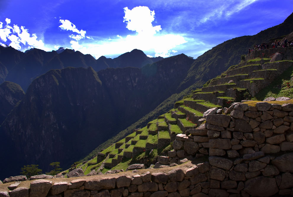 tourists on Incan terraces