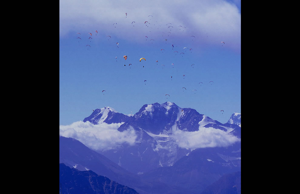63 Paragliders near the village of Fiesch, Switzerland