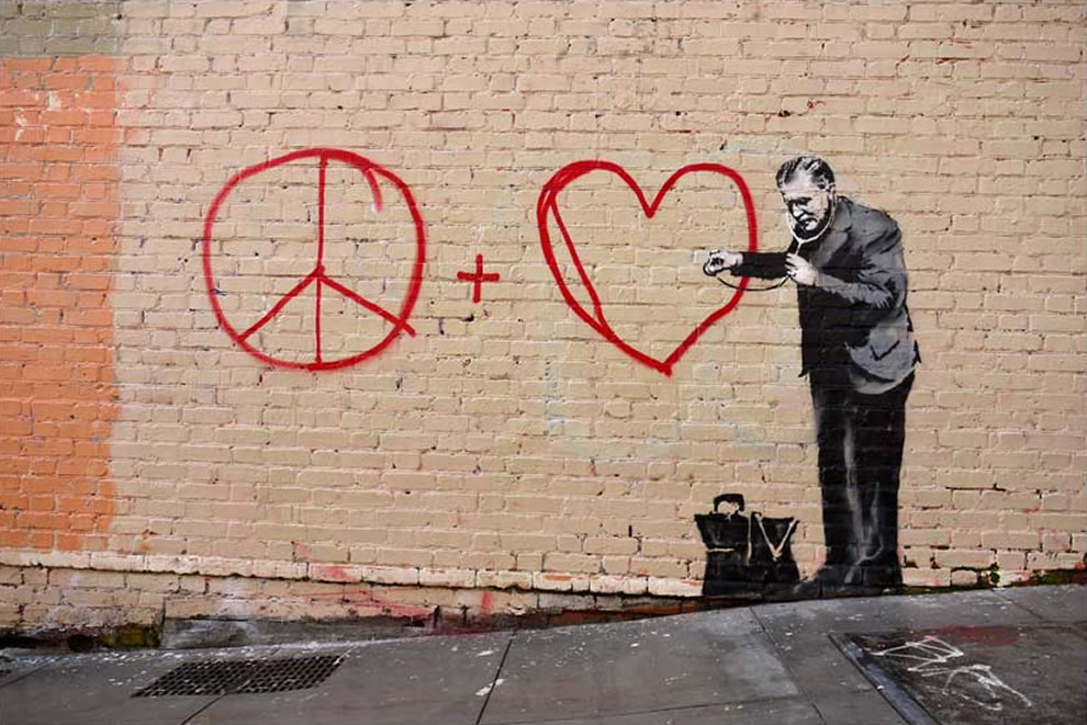 Banksy peace + love