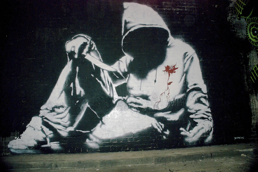 banksy a hooded man with a Shop from the world's largest selection and best deals for dealer or reseller listed banksy art poster print painting street graffiti banksy hooded man knife.