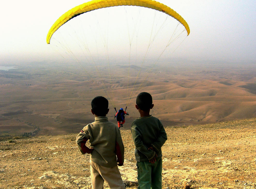 Future paragliders in Africa near Amizmiz, High Atlas mountains