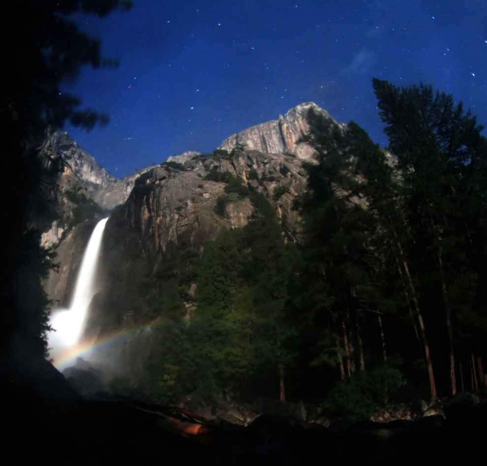 Moonbow at lower Yosemite fall