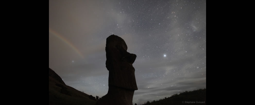 Moonrainbow over Easter Island