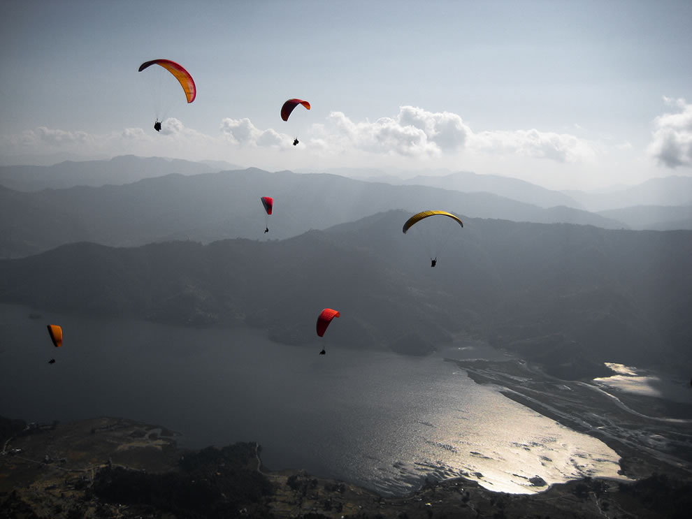 Nepal Paragliding over Phewa Tal in Pokhara