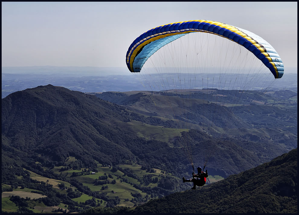 Paraglide over Cantal, France