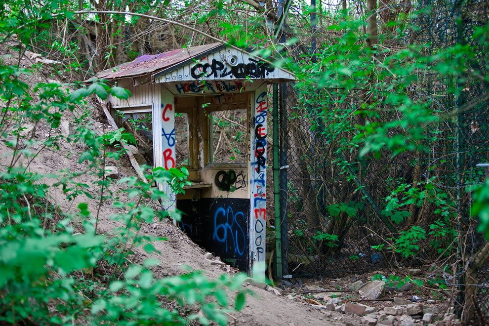 Sentry box at abandoned NSA Teufelsberg Listening Station in Berlin