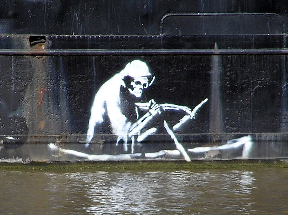 art work by Banksy, on the Thekla Social entertainment boat, central Bristol, England