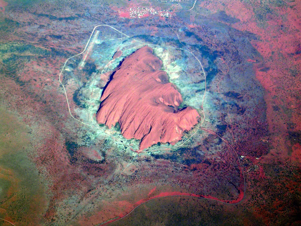 Aerial view of Uluru  aka Ayres Rock