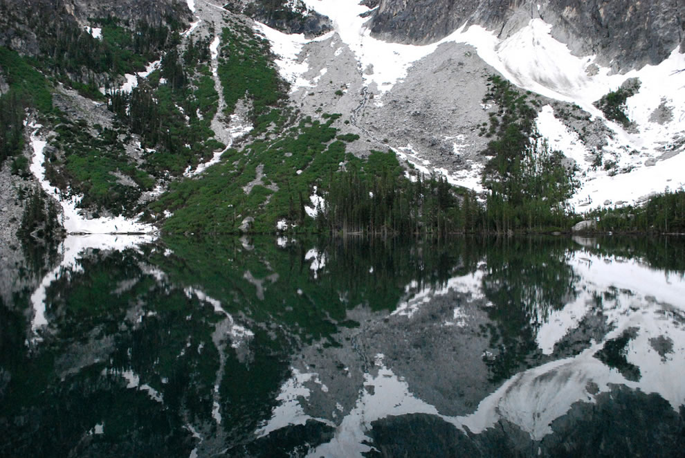 Double vision - Weather was calm the morning of Day 2, turning Lake Colchuck into a   mirror