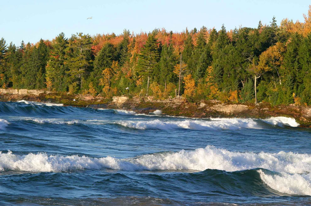Big Waves roll Lake Superior, Michigan, during autumn