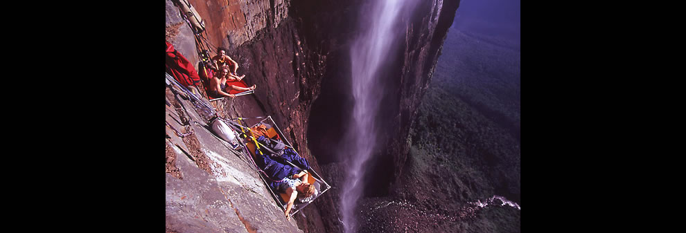 Climbing Angel Falls, camping on the cliff via adrenaline junkies hanging while they sleep