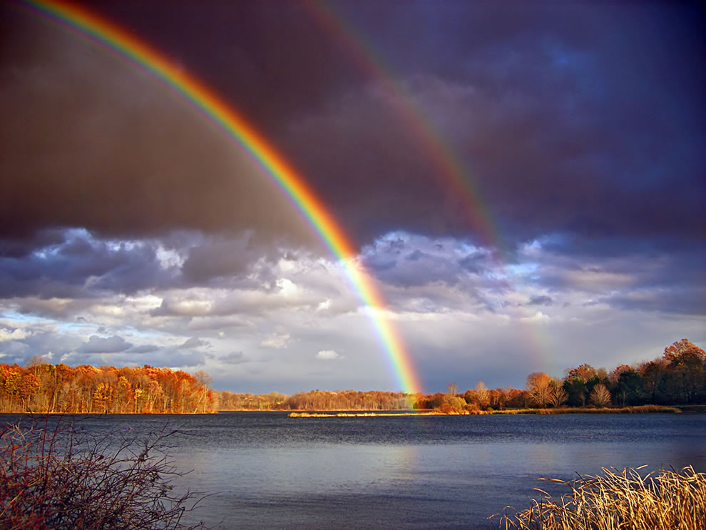 Double rainbows and departing storm clouds, Minsi Lake, Northampton County, Pennsylvania