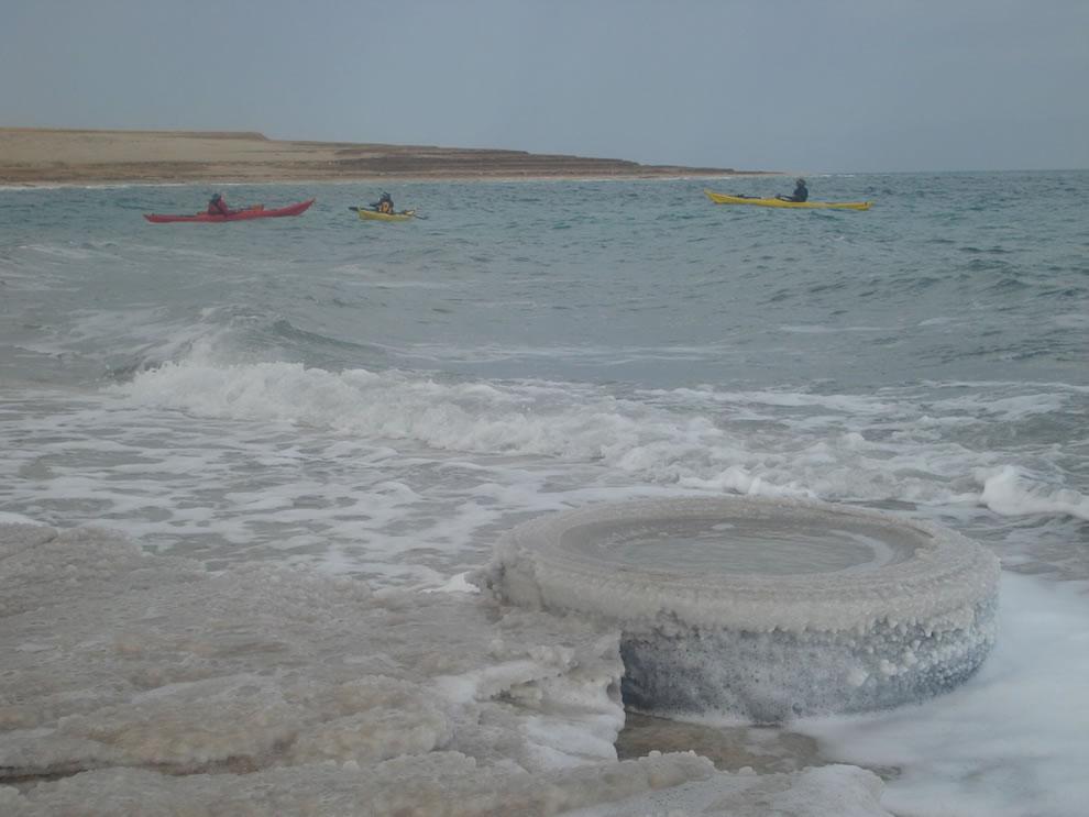 Kayaks in the Dead Sea