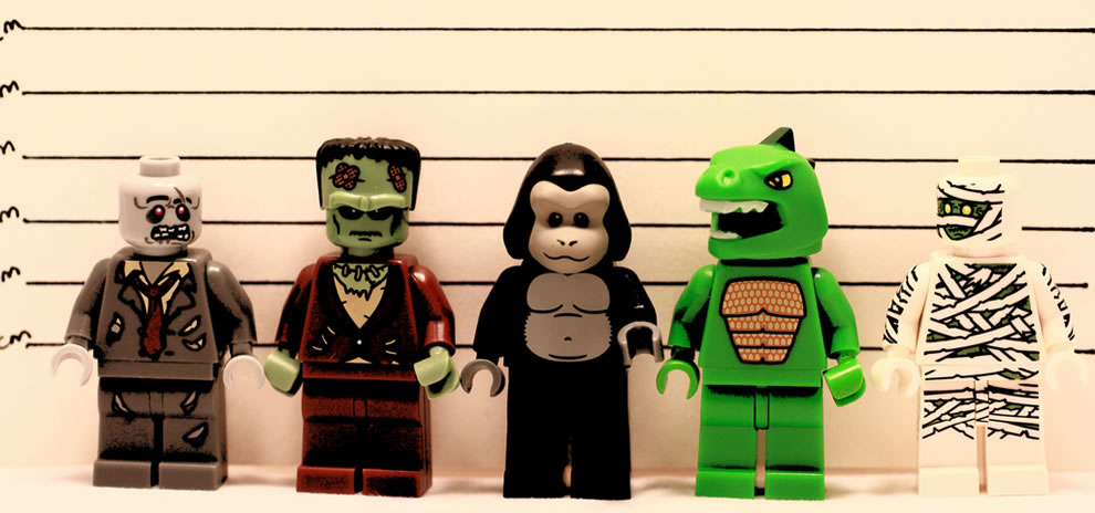 Lego lineup on Halloween The Usual Suspects