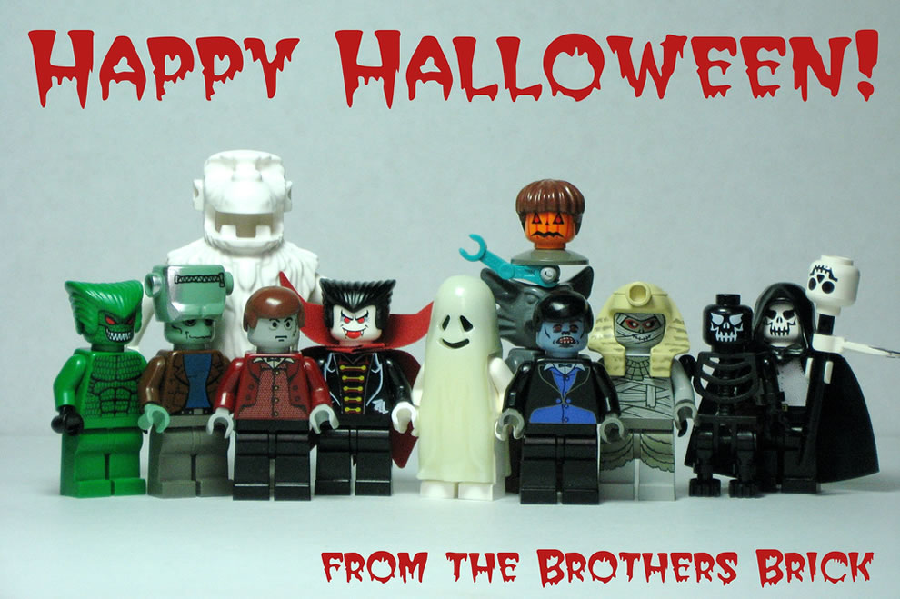 Happy Halloween!  Lego monsters, Necromancer, zombies, pumpkin-head