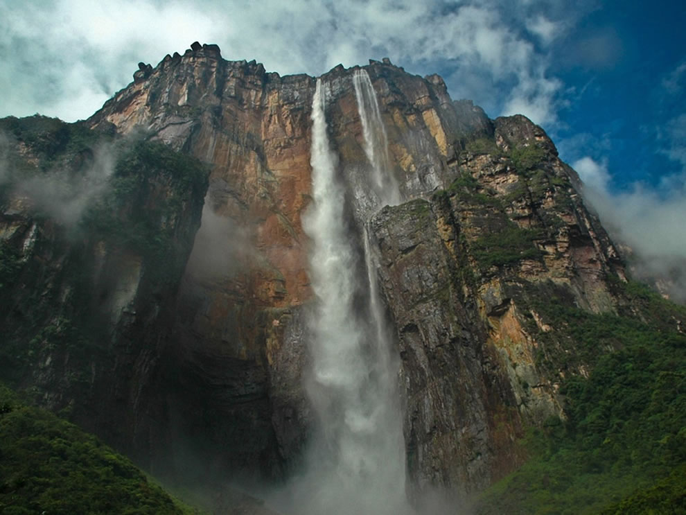 Looking up at Angel Falls