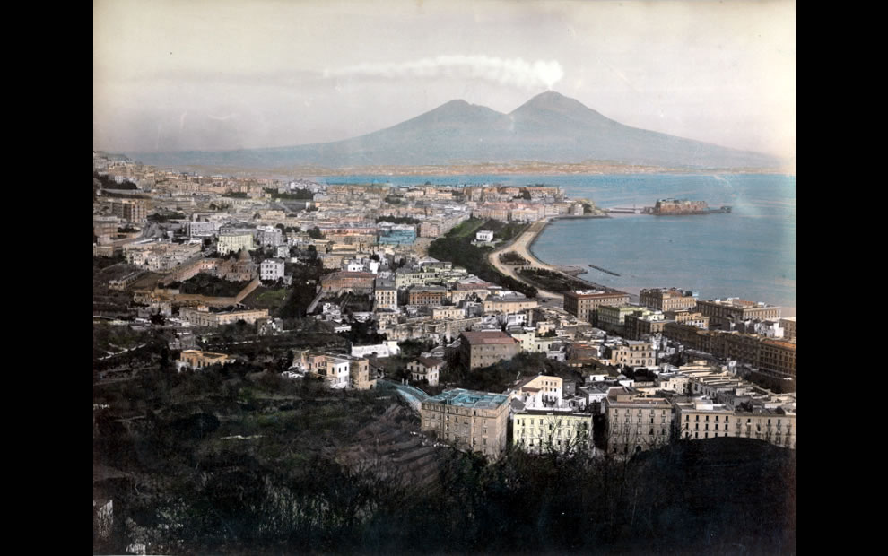 Naples - Panorama' - Hand-tinted photograph of Chiaia, a district of Naples, from the hill of Posillipo by Giorgio Sommer (1834-1914)