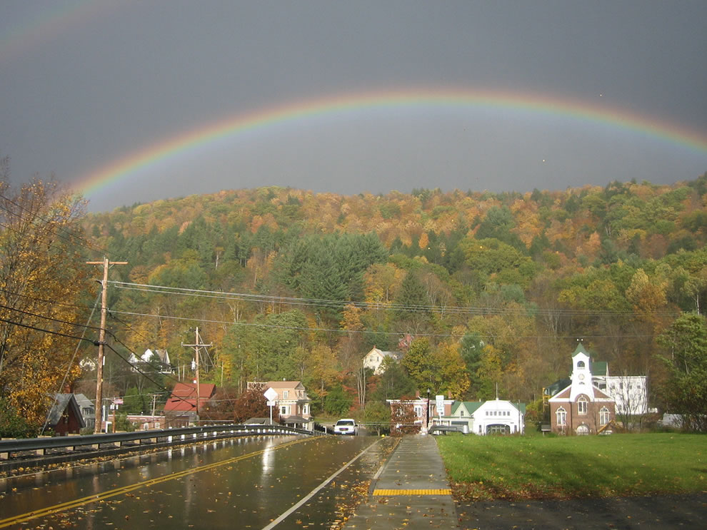 Rainbow and fall colors in Vermont