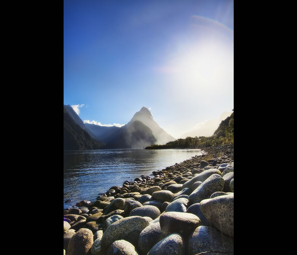 &#039;A Rocky Beach&#039;, New Zealand, Milford Sound