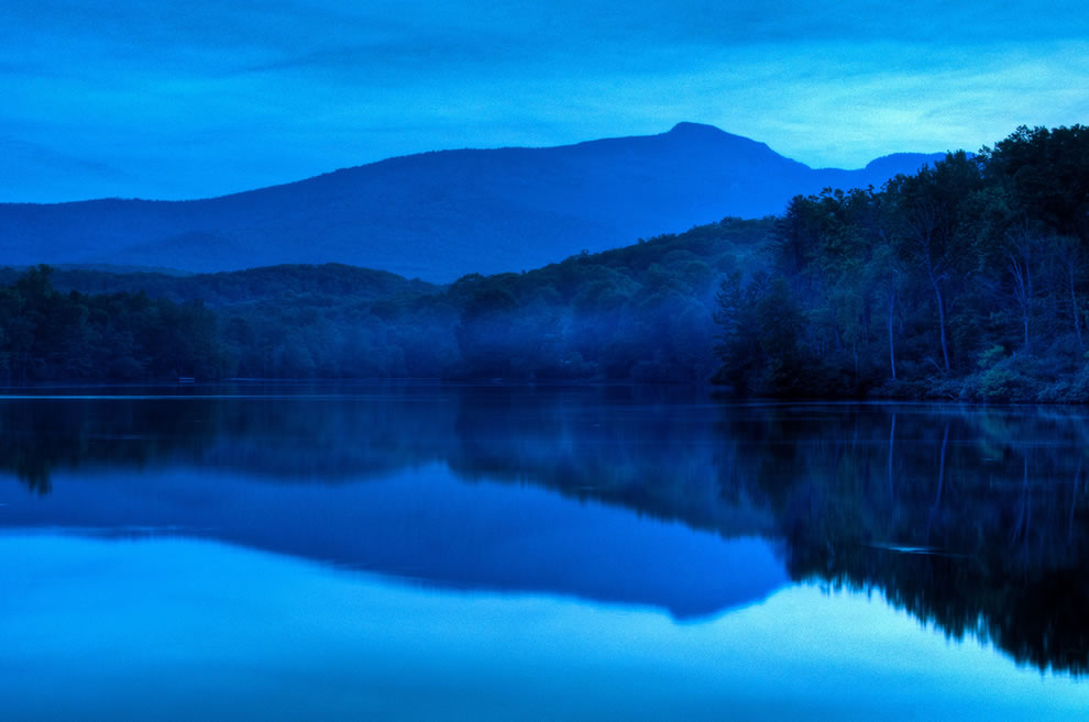 Campfire smoke above Price Lake Twilight at Price Lake along the Blue Ridge Parkway near Blowing Rock, N.C
