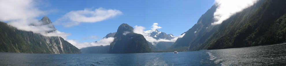 Panorama of Milford Sound in New Zealand