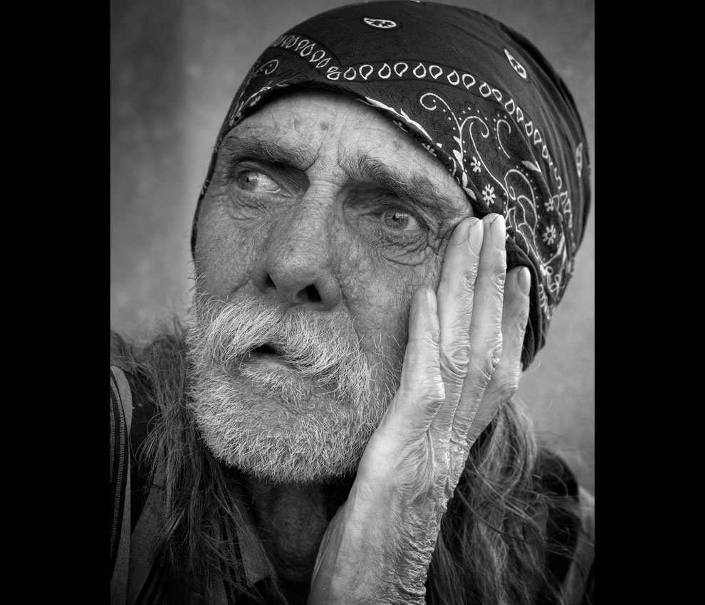 Portrait of homeless man