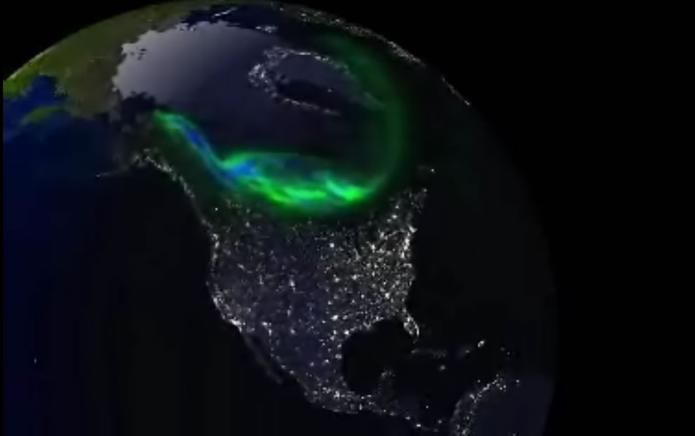 An oval of glowing green light in Earth's upper atmosphere encircles the magnetic North Pole
