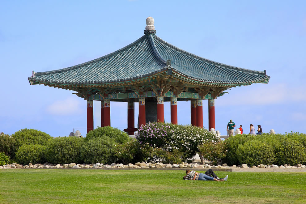 Kissing by the Korean Friendship Bell - San Pedro, CA
