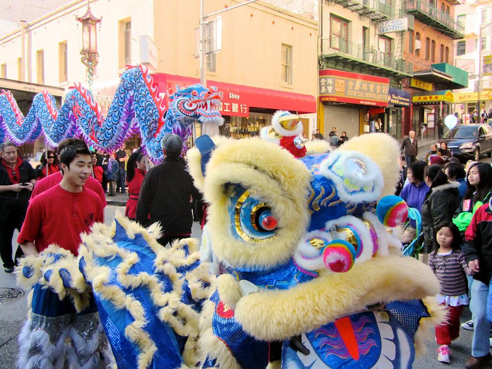 Blue lion, blue dragon