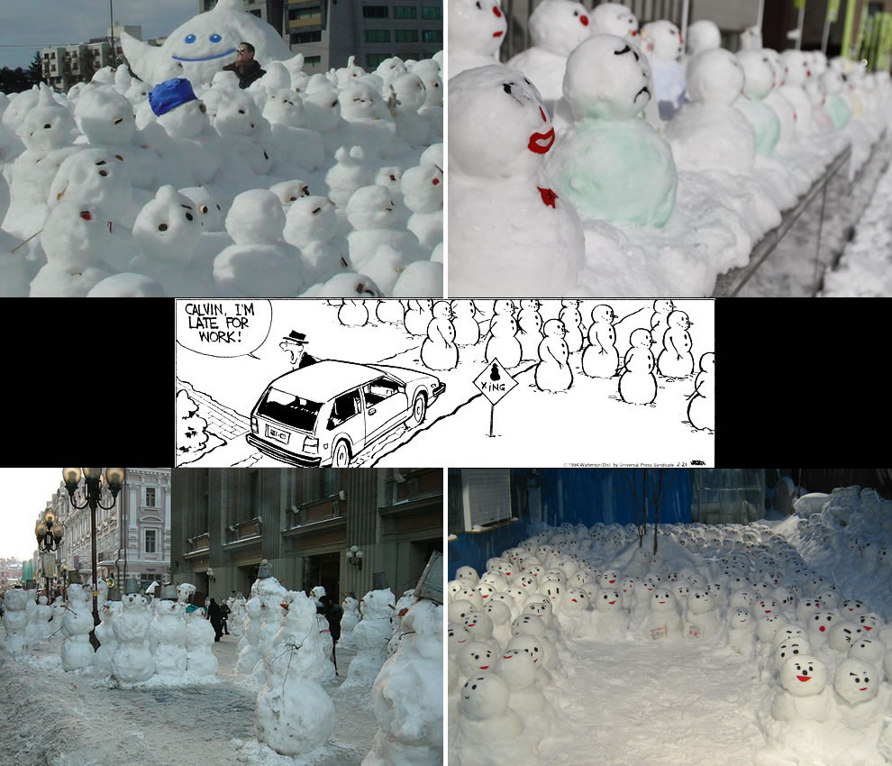 Calvin & Hobbes type scene in real life -- snowmen crossing