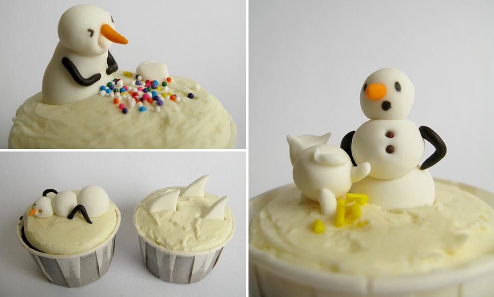 Calvin and Hobbes Snowmen Birthday Cupcakes