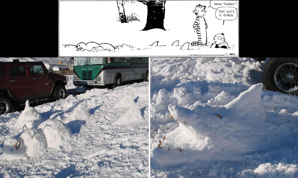 Calvin and Hobbes-esque Deadly RV Park Snow Sharks