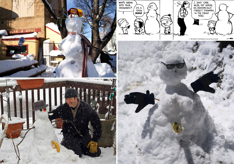Calvin's mom was not around to say no anatomically correct snowmen in front yard