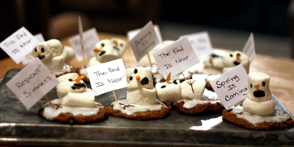 Edible the end is near - repent sinners Snowman Prophets of Doom