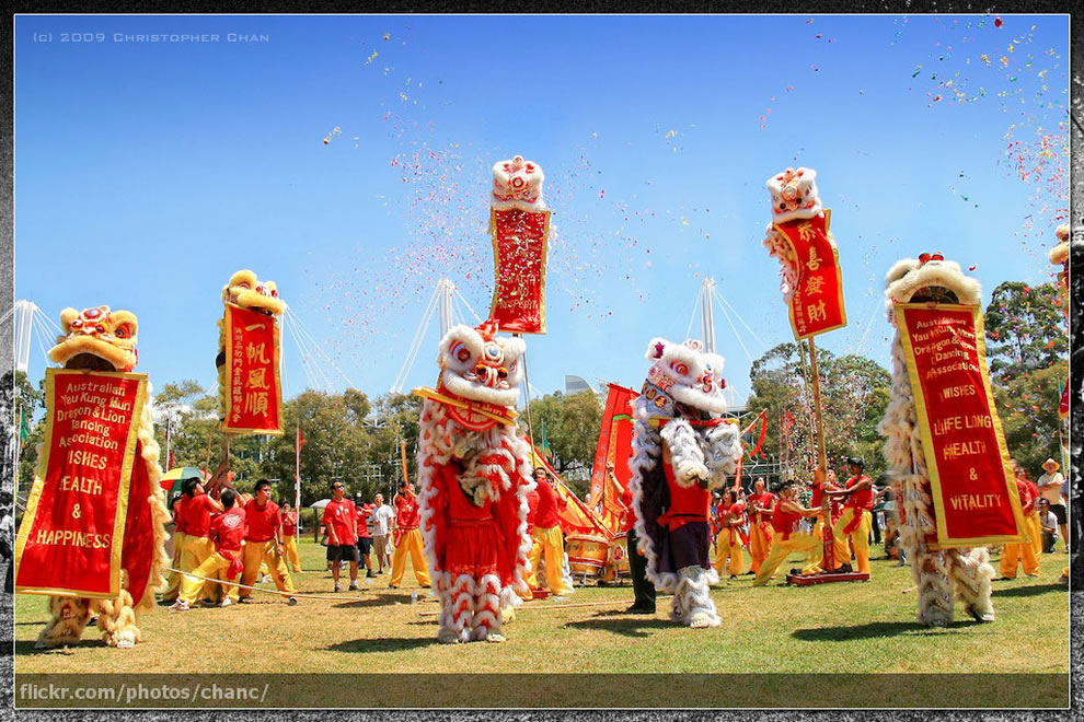 Fantastic lion and dragon dance performance