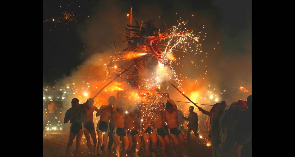 Fireworks and celebrating during Lunar New Year dragon dance