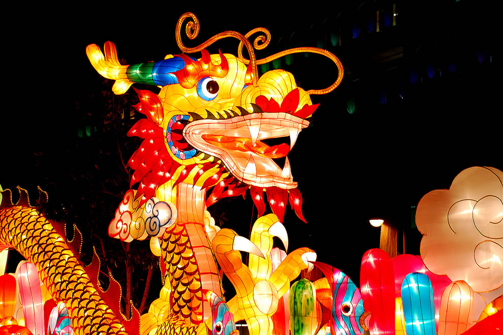 Lit up Chinese zodiac Dragon Head