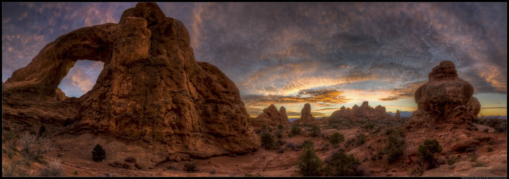 Sunrise on Thanksgiving Morning in the Garden of Eden in Arches National Park near Moab, Utah