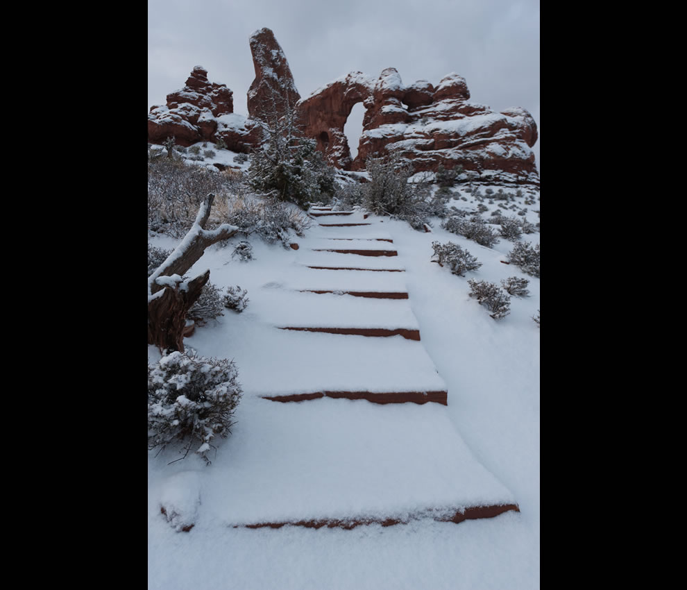 Turret Arch Trail with Fresh Snow
