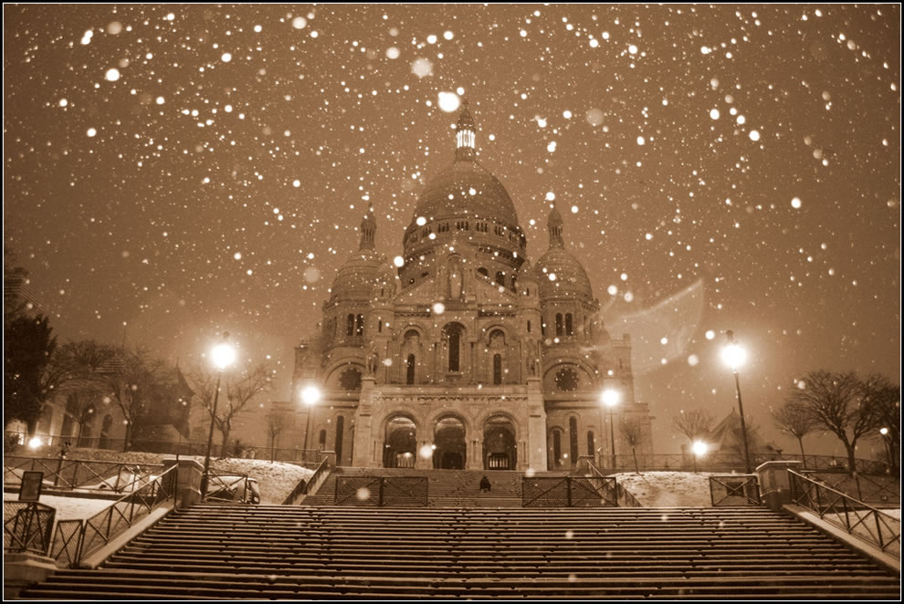 Paris by a snowy morning - Le Sacré coeur