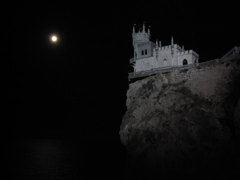 The &#039;Swallow Nest&#039; castle in the night, Gaspra, Yalta vicinity, Crimea - architecture Built for Love