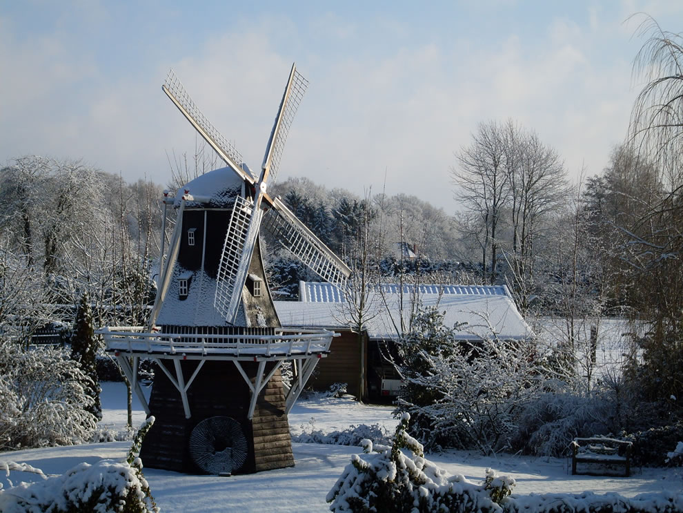 Winter scene of Windmill De Lelie (The Lily) in Aalten in the eastern Netherlands