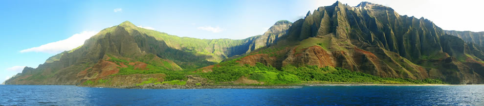 A view of the N-Pali Coast from the ocean
