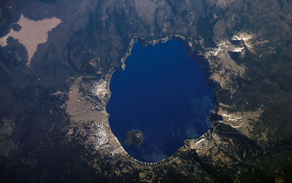 Crater Lake, Oregon is featured in this image photographed by the International Space Station