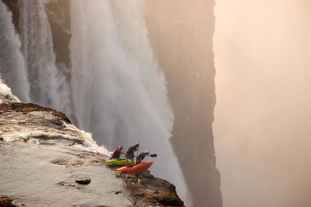 Kayak waterfall, adrenaline rush at Victoria Falls, Zambia, Africa