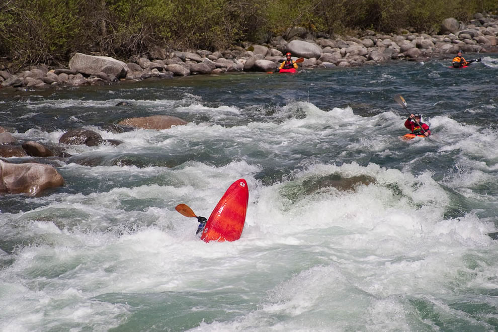 Kayaking Chilliwack River, whitewater flip