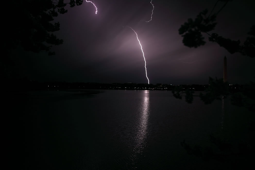 Lightning crashes to the ground in Washington DC late one evening during the spring cherry blossom festival